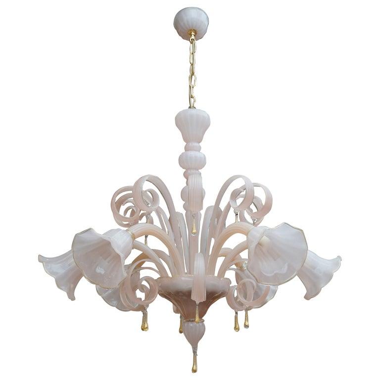 Italian Venetian Murano Glass Chandelier For Sale