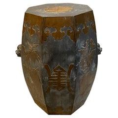 Asian Antique Chinese Decorative Bronze and Gray Drum Side Accent Table, 1930s