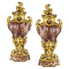 Pair of Louis XV Style Gilt-Bronze Mounted and Marble Cassolets