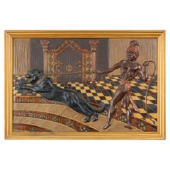 Art Deco Embossed Lithograph on Celluloid, Panther and Tamer in Palace, 1920's
