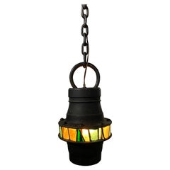 Brutalist Hand-Crafted Iron and stained Glass Hanging Pendant Lamp, c. 1960's