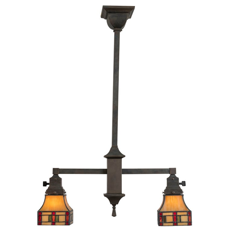 2 Arm Arts & Crafts Chandelier w/ Original Leaded Glass Shades, ca. 1910 For Sale
