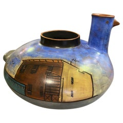 Lidya Buzio Signed New York Artist Hand Painted Pottery Ceramic Vessel Vase 1980