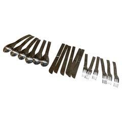 Sasaki Modernist 18 Piece Service Set Table Flatware by Massimo Vignelli, 1960s