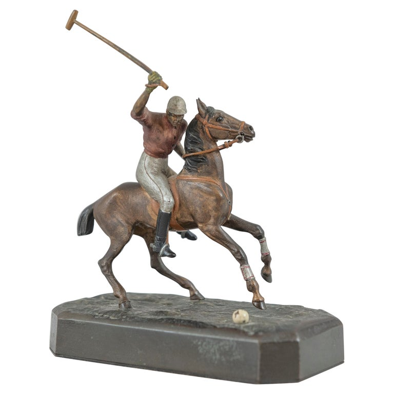 Cold Painted Vienna Bronze Polo Player on Horseback, ca. 1910 For Sale