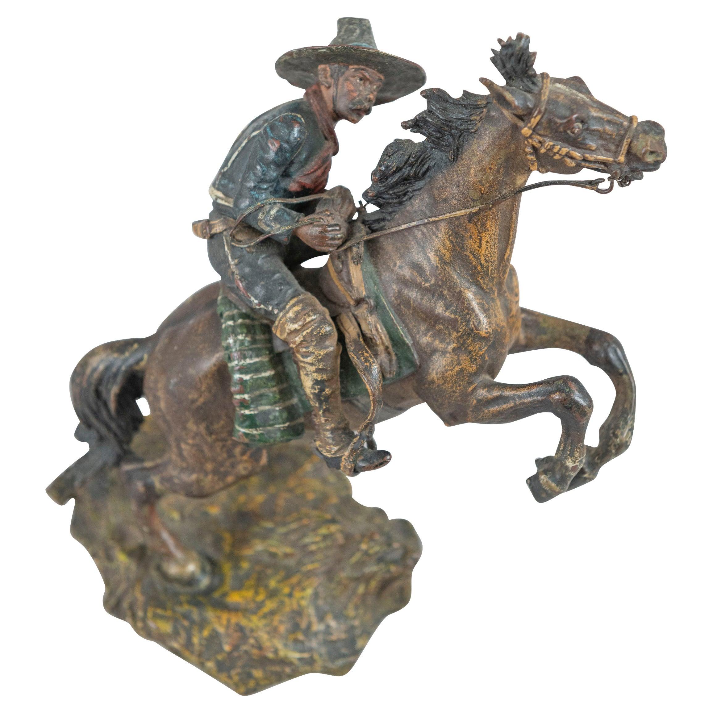 Cold Painted Vienna Bronze Caballero on Horseback, Carl Kauba, ca. 1900