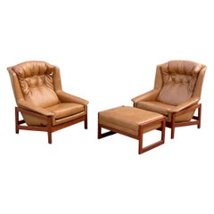 Midcentury Reclining Lounge Chairs in Leather + Walnut by Folke Ohlsson for DUX