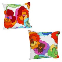 Missoni Custom Pink, Orange, Red Floral Pansy Pillow Pair, MissoniHome, Italy
