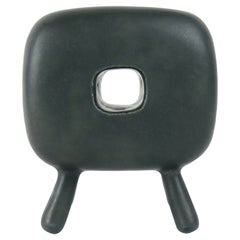 Smooth Black Glazed Ceramic Cube with Square Center Opening, 4 Legs, Handbuilt