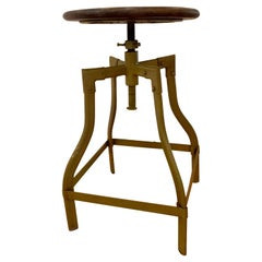 Industrial Adjustable Metal Stool with Round Wooden Seat in Green