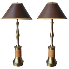 Pair of Brass and Wicker Table Lamps by Tony Paul