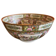 Massive Chinese Export Hand Painted Rose Medallion Porcelain Bowl