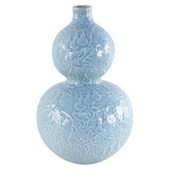Chinese Qing Dynasty Blue Patterned Double-Gourd Porcelain Vase with Gold Rim