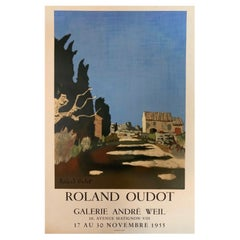 Original French Art Exhibition Poster, Roland Oudot, Galerie Andre Weil, 1955