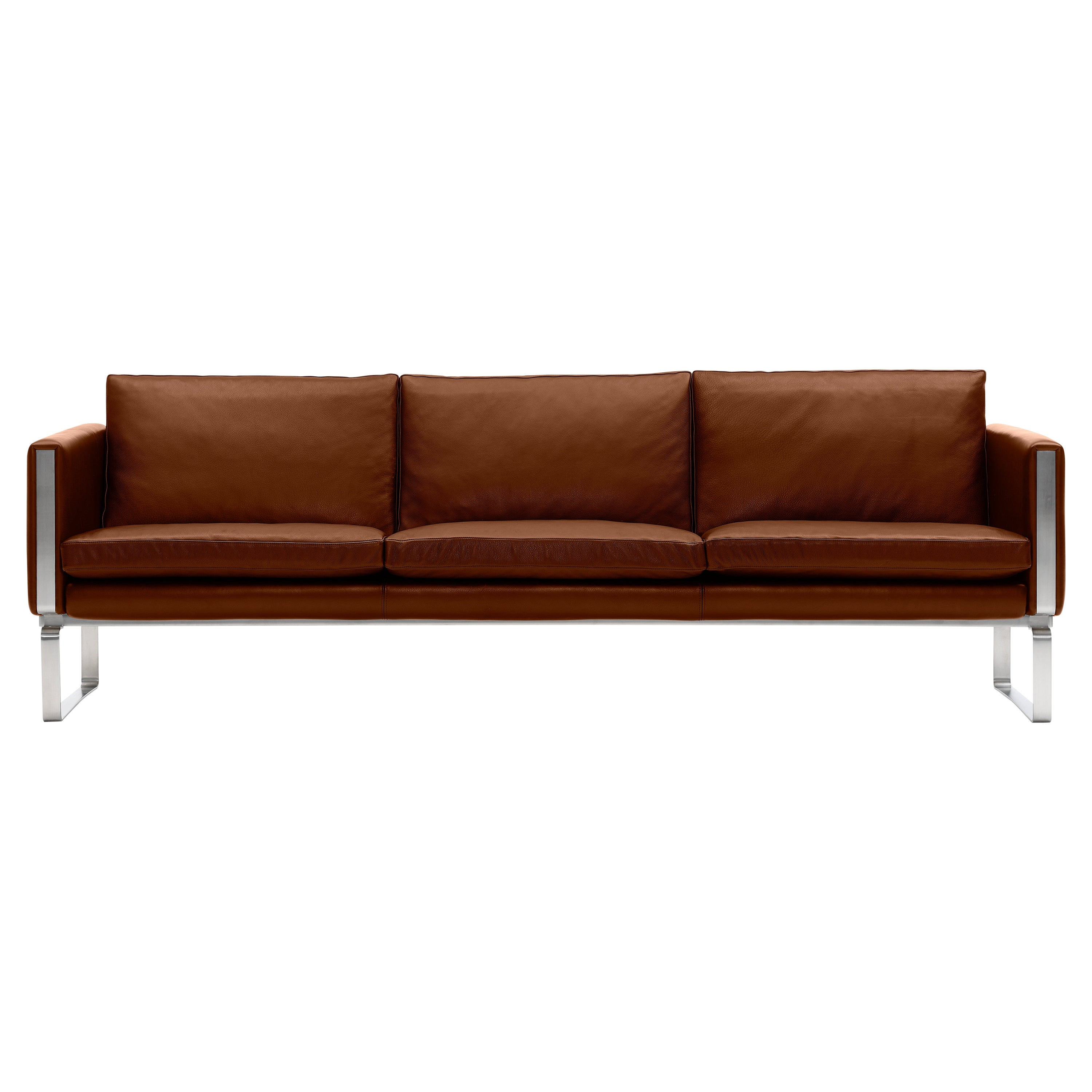 CH103 3-Seat Sofa in Stainless Steel Frame with Leather Seat by Hans J. Wegner