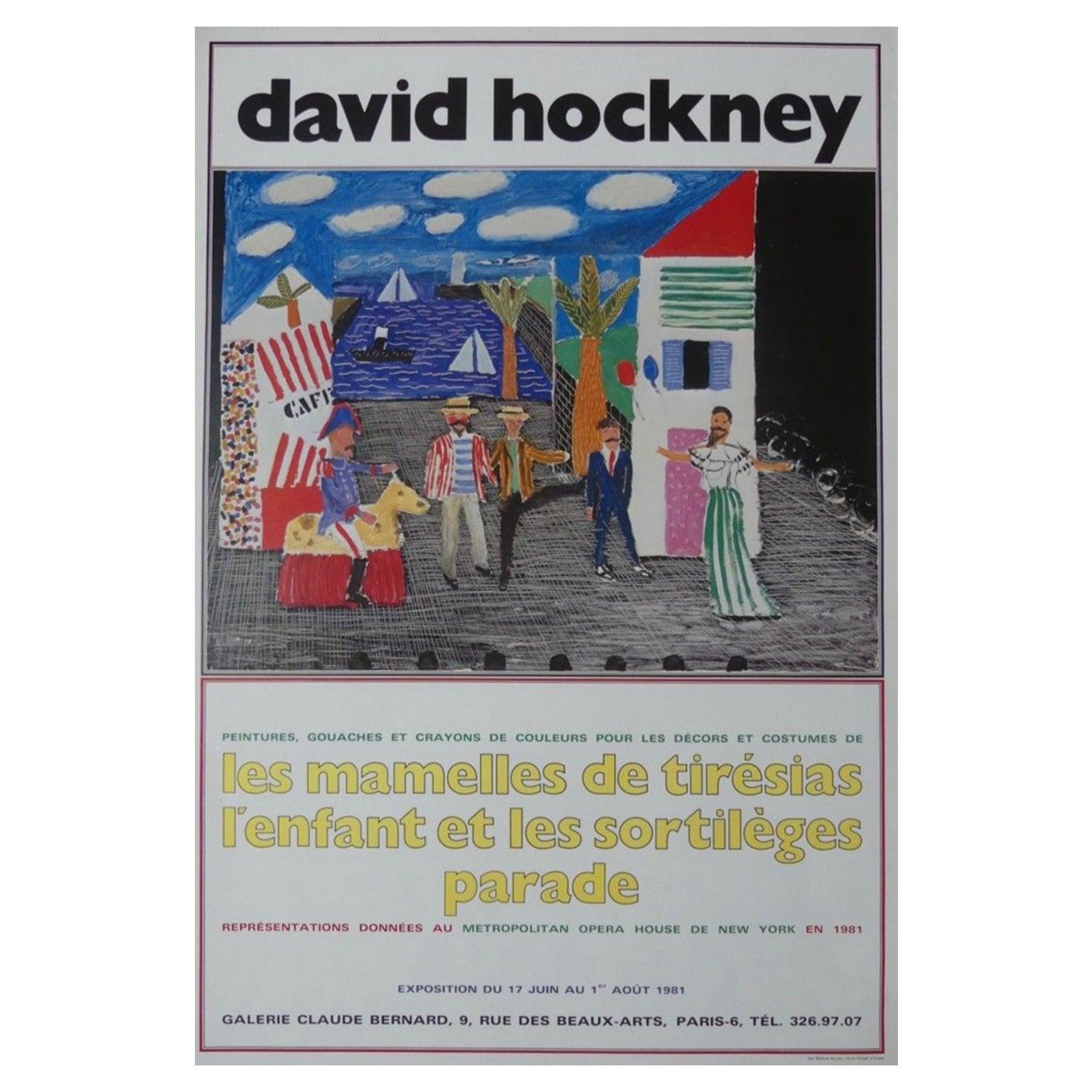 "David Hockney Original Exhibition Poster, ""THE PARADE OUTDOORS"" 1981"