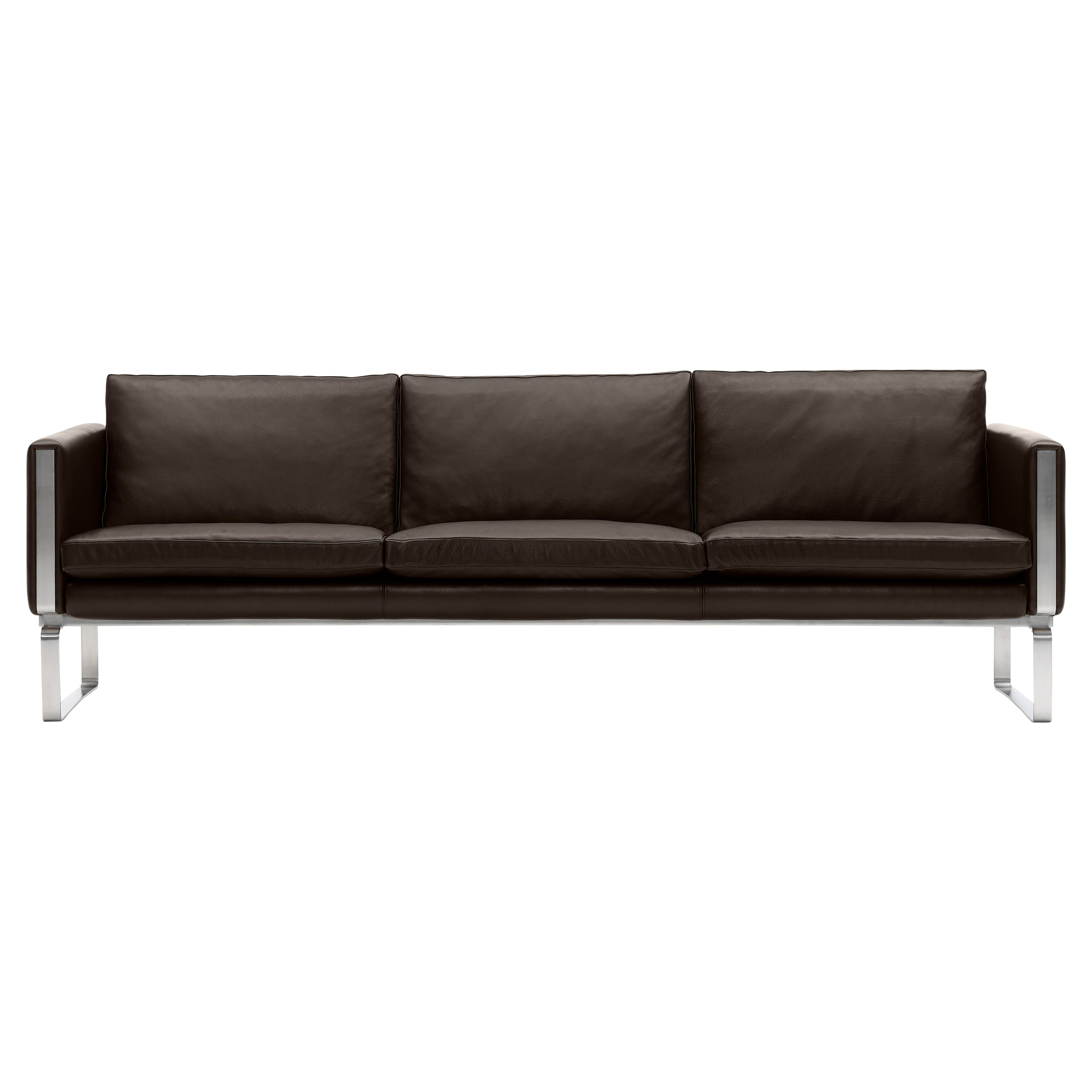CH104 4-Seat Sofa in Stainless Steel Frame with Leather Seat by Hans J. Wegner