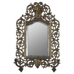 Antique Bradley & Hubbard Gilded Cast Iron Desktop or Wall Vanity Mirror Bacchus