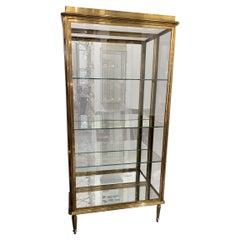 1930s Art Deco Brass Display Cabinet-France
