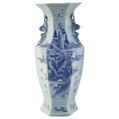 Chinese Blue and White Hexagonal Porcelain Vase