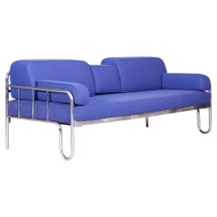 Fully Restored Bauhaus Leather and Chrome Sofa, 1930s Czechia
