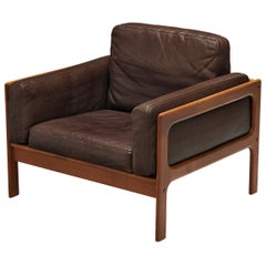 Elegant Danish Lounge Chair in Brown Leather