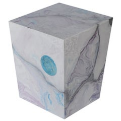Side Table Scagliola Art Pink and Light Blue Colors Artistic Contemporary Piece