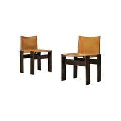 Afra & Tobia Scarpa 'Monk' Chairs in Cognac Leather