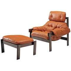 Percival Lafer 'MP-41' Lounge Chair with Ottoman in Leather