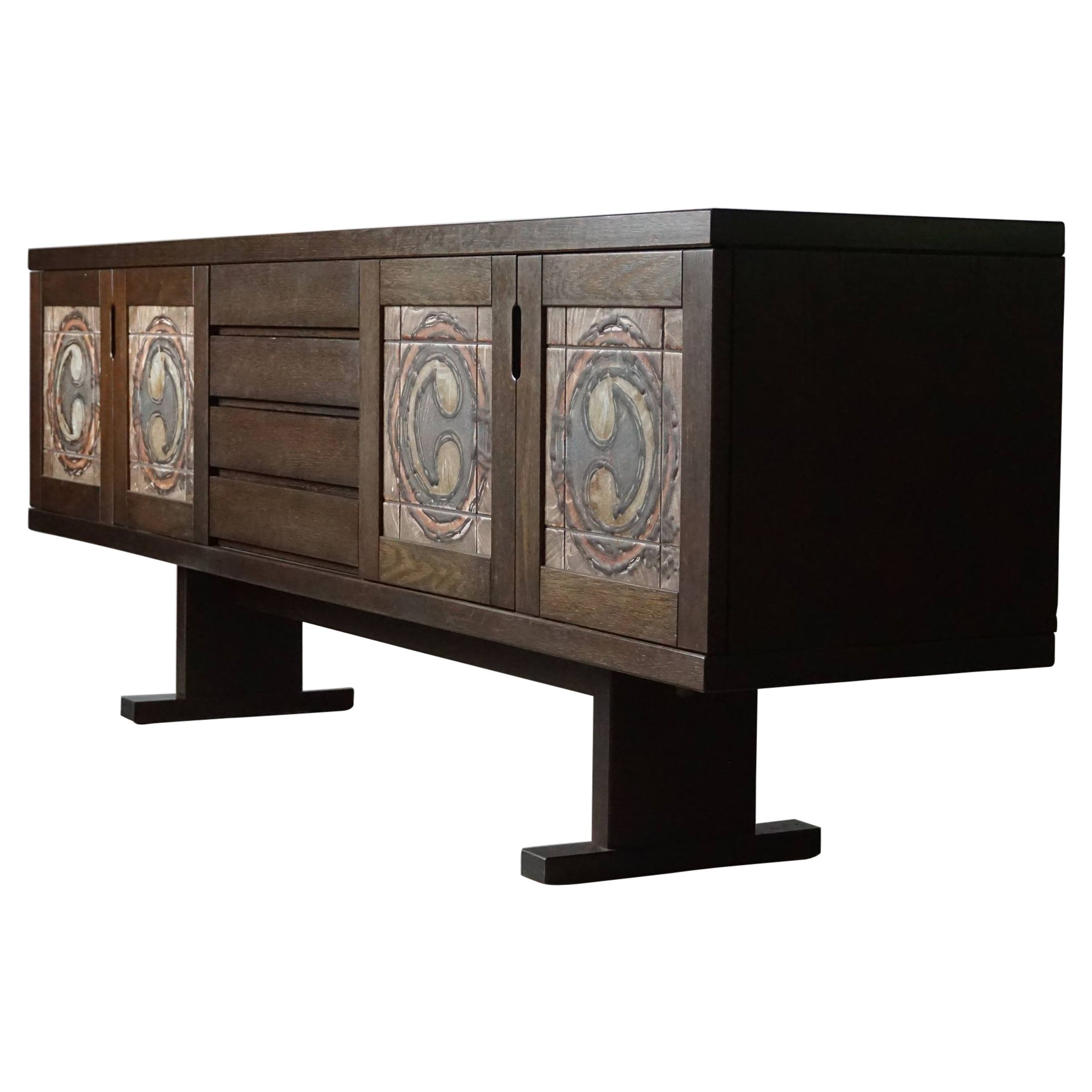 Danish Modern Low Sideboard in Oak and with Ceramic Front, Made by Skovby, 1970s
