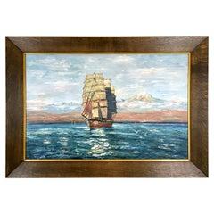 Large Marine or Ship Painting after Hans Bohrdt 1930s Original Solid Oak Frame