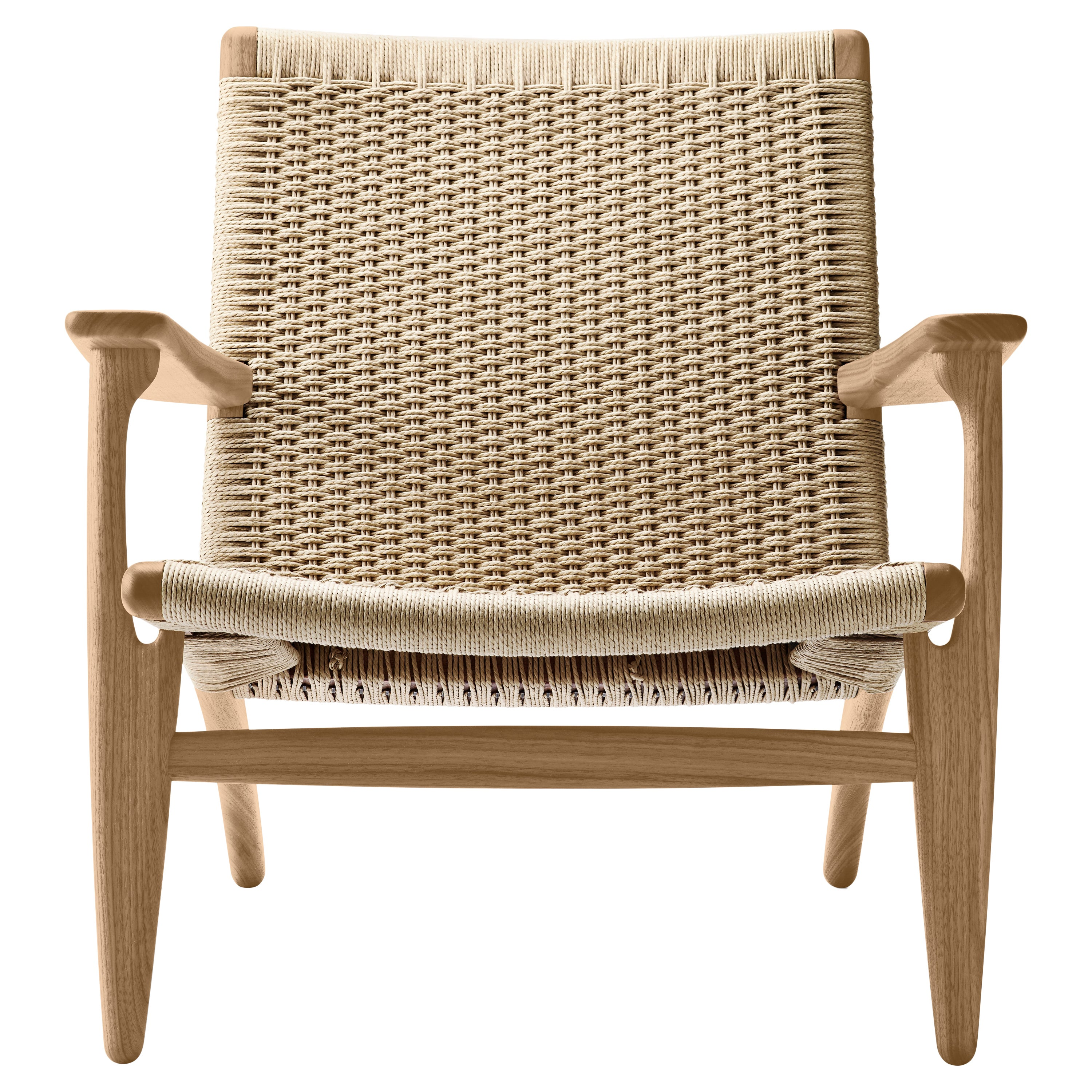 CH25 Easy Lounge Chair with Natural Papercord Seat by Hans J. Wegner