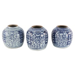 Chinese White and Blue Character and Floral Ginger Jar Vases