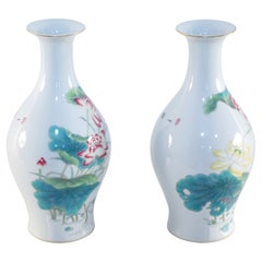 Pair of Chinese White Famille Rose Pear-Shaped Porcelain Vases