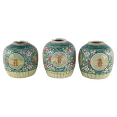 Chinese Green Floral Scrolling Design Ginger Jar Vases