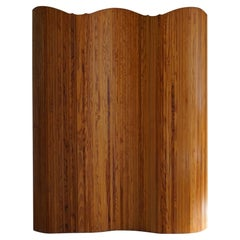 French Art Deco Room Divider in Patinated Pine Attributed Jomaine Baumann, 1940s