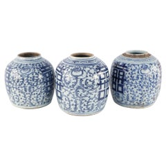 Chinese White and Blue Floral Ginger Jar Vases