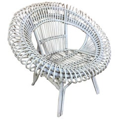 Janine Abraham / Dirk Jan Rol Rattan White Lounge Chair by Edition Rougier 1955