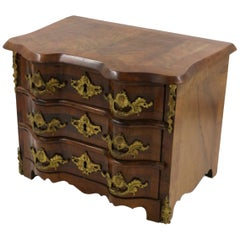 Continental Miniature Wooden Bombe Chest Jewelry Box