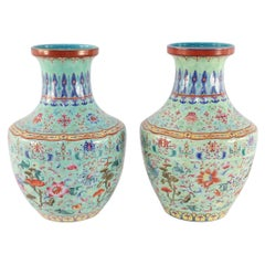 Pair of Chinese Qing Dynasty Celadon Famille Rose Porcelain Urns