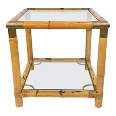 Bamboo, Glass and Brass Squared Side Table, Italy, 1970s