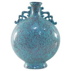 Chinese Teal and Red Crackle Porcelain Moon Flask Vase