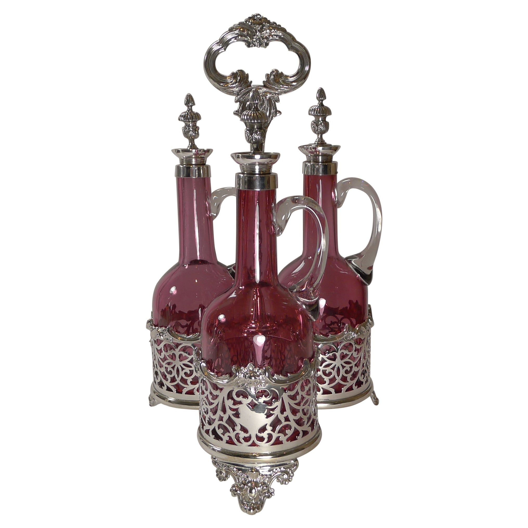 Stunning Cranberry Glass and Silver Plate Decanter Set c.1890
