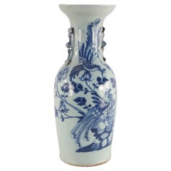 Chinese White and Blue Peacock Motif Porcelain Urn