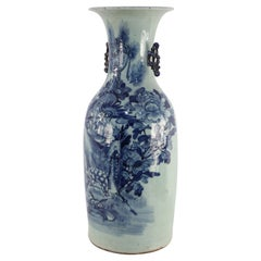 Chinese White and Blue Nature Motif Porcelain Urn