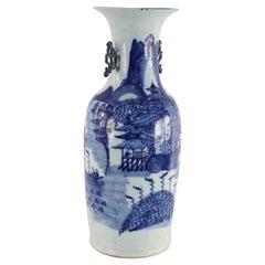 Chinese White and Blue Village Scene Porcelain Urn