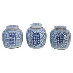 Chinese White and Blue Character Lidded Ginger Jar Vases