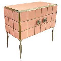 Modern Italian Custom Art Deco Royal Pink Glass Brass Edge Cabinet /Bar