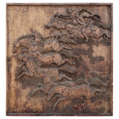 Chinese Carved Wooden Wall Plaque Depicting Riders on Horseback