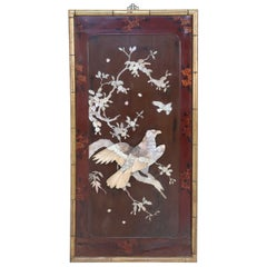 Chinese Panel Art Depicting Birds and Branches in Raised Mother of Pearl Pieces